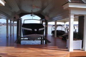 One of our custom boat docks with boat lift